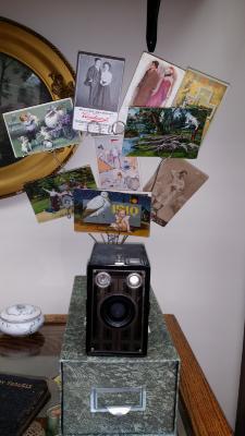 1900's post cards, box camera